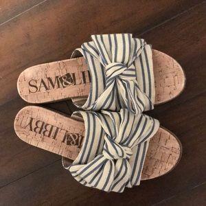 Sam & Libby Stripe Bow Slide Sandals